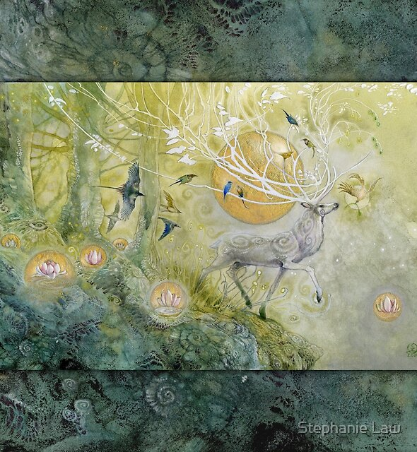 White Stag Emerald Forest by Stephanie Law