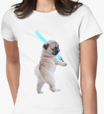Pug with Lightsaber Women's Fitted T-Shirt