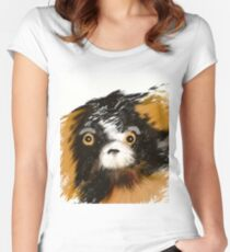 Black and Tan Puppy   Women's Fitted Scoop T-Shirt