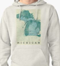 Michigan Map Blue Vintage Pullover Hoodie