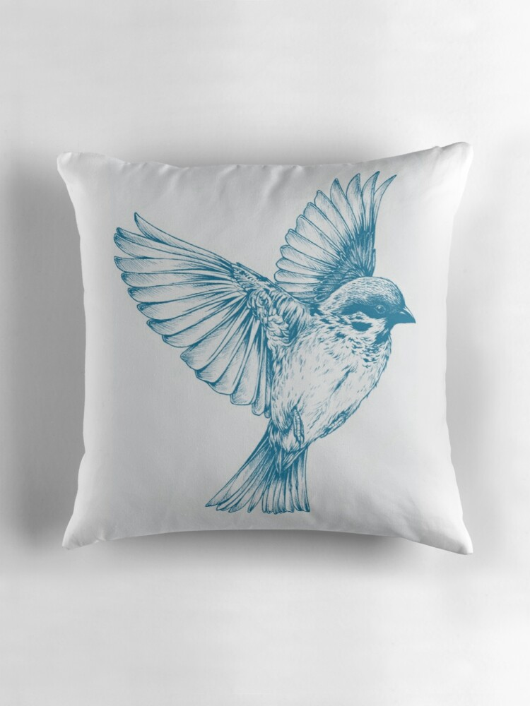 Blue Bird Throw Pillows :