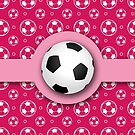 Football Soccer Ball Sport Athletics Fun Pink Pattern by Beverly Claire Kaiya