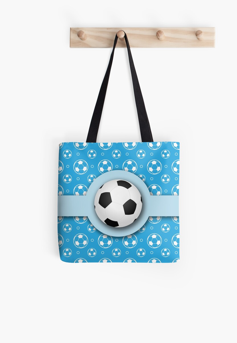 Football Soccer Ball Sport Athletics Fun Blue Pattern by Beverly Claire Kaiya