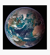 A full view of Earth showing global data for land surface, polar sea ice, and chlorophyll. Photographic Print