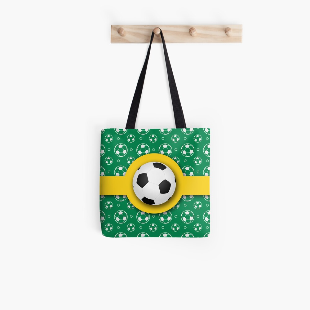 Football Soccer Australian Colours Green Gold Ball Pattern Tote Bag