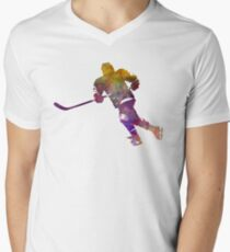 Skater with stick in watercolor Mens V-Neck T-Shirt