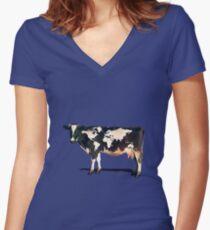 Surreal Bovine Atlas Women's Fitted V-Neck T-Shirt