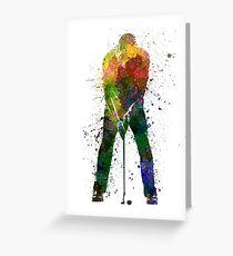 man golfer putting silhouette Greeting Card