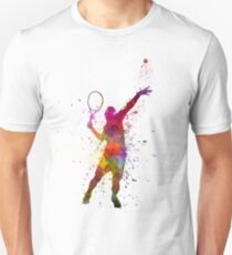 tennis player at service serving silhouette 01 T-Shirt