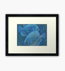 Blue discuses, pastel painting, underwater art Framed Print