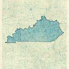 Kentucky State Map Blue Vintage by HubertRoguski