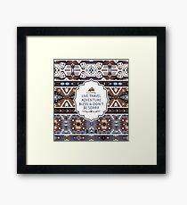 Decorative noir pattern in tribal style Framed Print