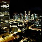 SINGAPORE CITY BY NIGHT by sandysartstudio