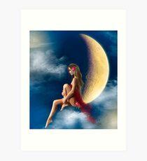 beautiful woman night fairy on moon Art Print