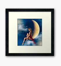 beautiful woman night fairy on moon Framed Print