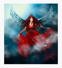 Woman queen with wings in red dress Photographic Print