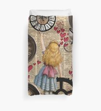 Alice In Wonderland Travelling in Time Duvet Cover