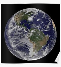 Full Earth with Hurricane Irene visible on the United States East Coast. Poster