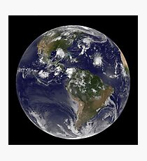 Full Earth showing tropical storms in the Atlantic Ocean. Photographic Print