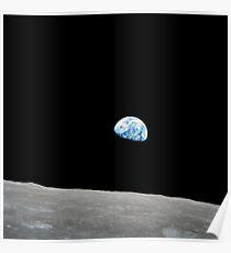 Earth rising above the lunar horizon. Poster