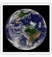 Full Earth showing two tropical storms forming in the Atlantic Ocean. Sticker