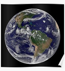 Full Earth showing various tropical storm systems. Poster