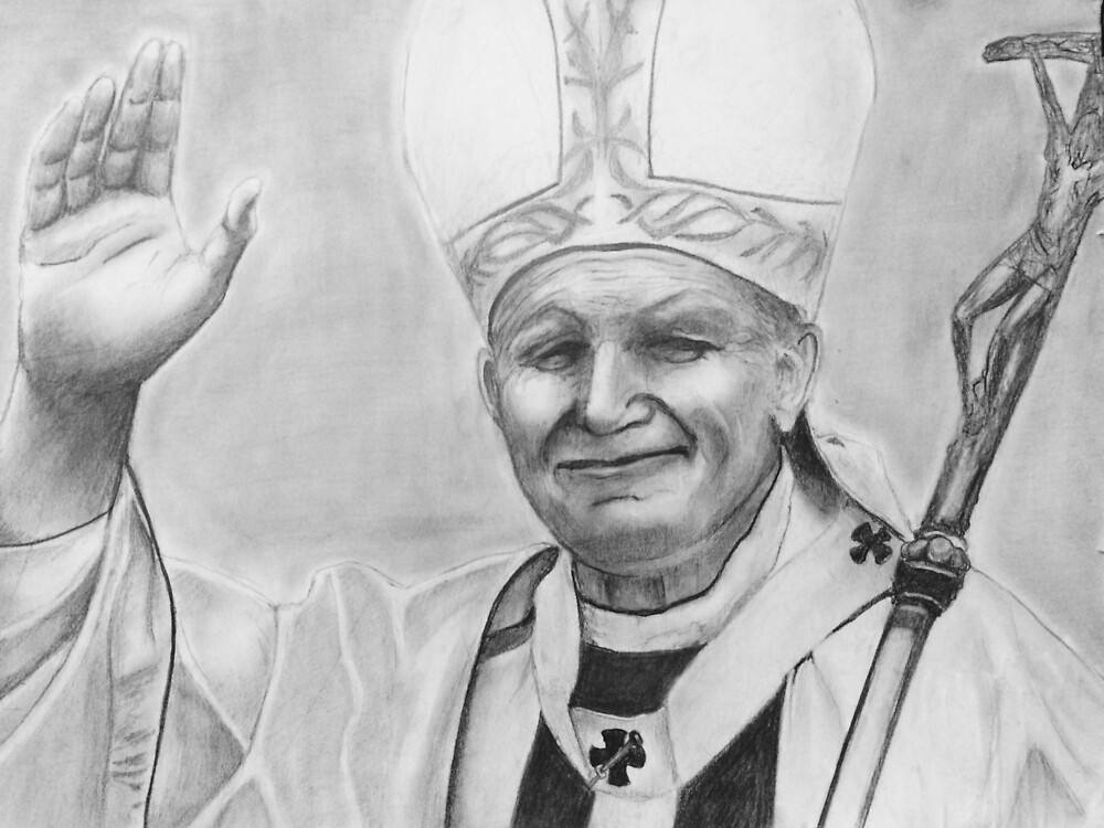 Quot Pope John Paul Ii Pencil Drawing Quot By Nawgyal Redbubble