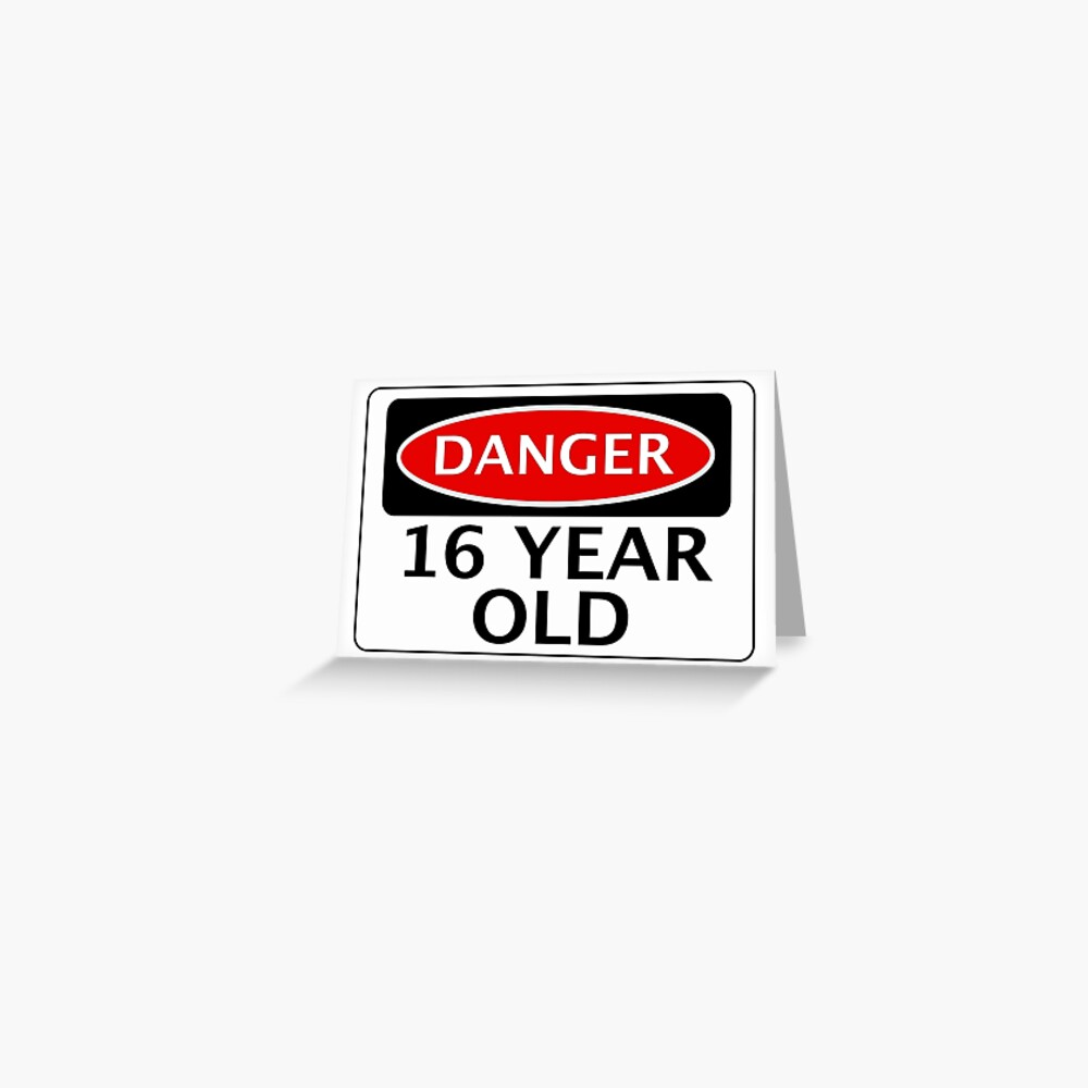 DANGER 16 YEAR OLD, FAKE FUNNY BIRTHDAY SAFETY SIGN Greeting Card