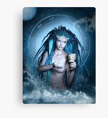 Aquarius Zodiac Fantasy Circle Canvas Print