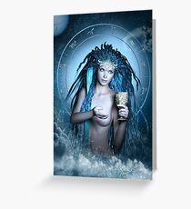 Aquarius Zodiac Fantasy Circle Greeting Card