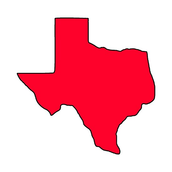 Texas outline red. Shape poster by