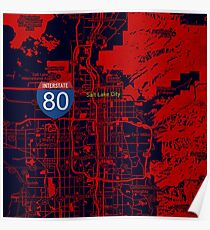Salt Lake City orange map Poster