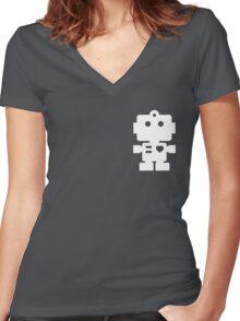 Robot - steel & white Women's Fitted V-Neck T-Shirt