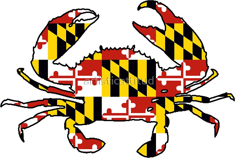 Maryland flag crab outline by artisticattitud