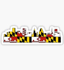 Baltimore Maryland flag skyline Sticker