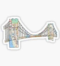 subway map new york city brooklyn bridge, NYC, east river, Brooklyn Sticker