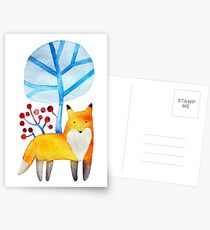 Fox in a winter forest Postcards