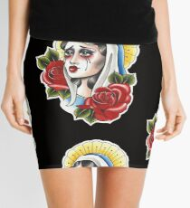 Our Lady Neotraditional Tattoo Painting Mini Skirt