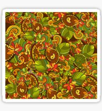 Bright background with diverse leaves and flowers Sticker