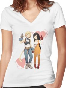 Gidan and Garnet Final Fantasy IX Women's Fitted V-Neck T-Shirt