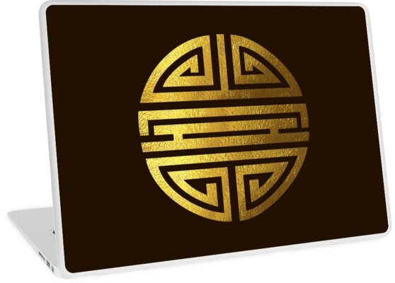 Four Blessings Good Luck Symbol Chinese Buddhism Gold Laptop