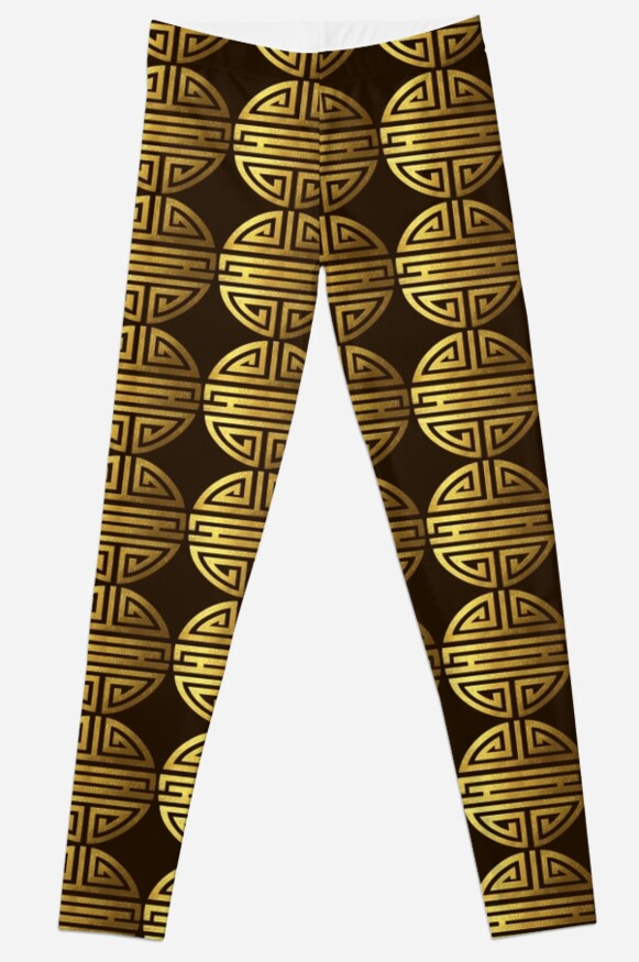 Four Blessings Good Luck Symbol Chinese Buddhism Gold Leggings