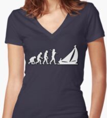 Evolution Sailing 01 by Stencil8 Women's Fitted V-Neck T-Shirt