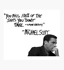 Michael Scott's Inspirational Quote (White) Photographic Print