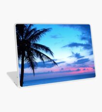 Tropical Island Pretty Pink Blue Sunset Landscape Laptop Skin