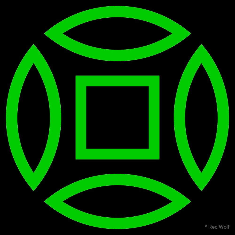 Geometric Pattern: Intersect Outline: Black/Green by * Red Wolf