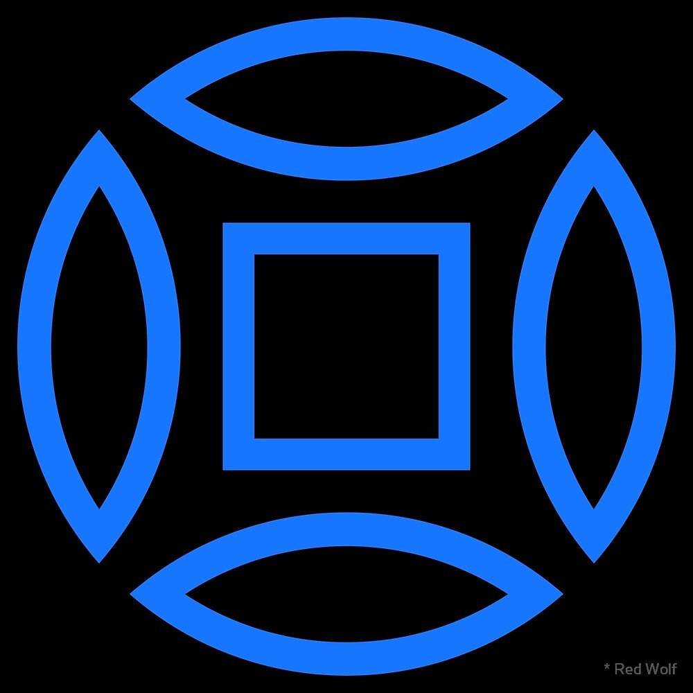 Geometric Pattern: Intersect Outline: Black/Blue by * Red Wolf