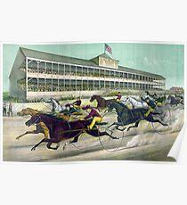 Ein Rennen um den Draht - Currier & Ives - 1891 Poster