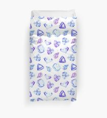 Blue and violet diamond crystals watercolor seamless vector pattern Duvet Cover