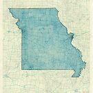 Missouri State Map Blue Vintage by HubertRoguski